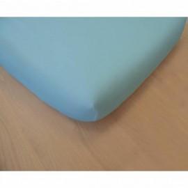 Drap housse bleu en coton bio 70 x 140 cm