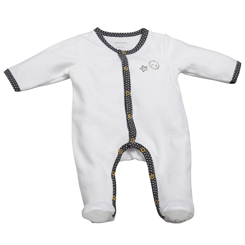 Pyjama Babyfan naissance en velours Blanc/gris