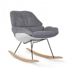 Rocking chaise Lounge Blanc/gris