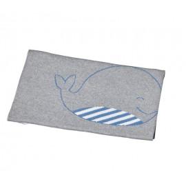 Couverture Maille 80X100 cm Blue Baleine