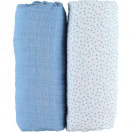 Lot de 2 draps housses mousseline Bio 60 x 120 cm A & J