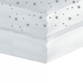 Lot de 2 draps housse pour berceau 50x83 Blanc/Etoile