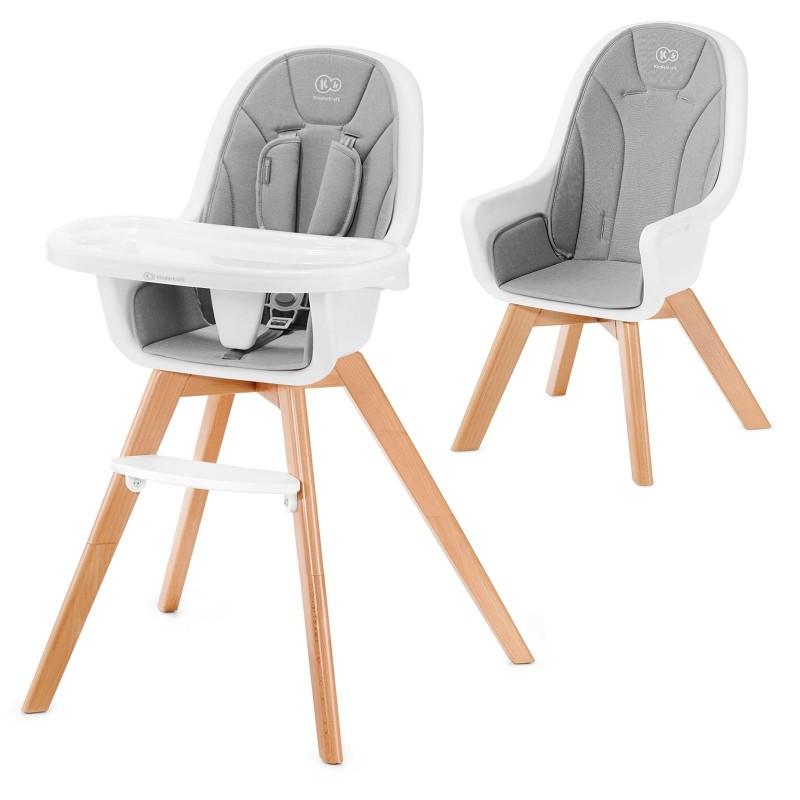 Chaise Haute Tixie 2 en 1 - Gris/Hêtre